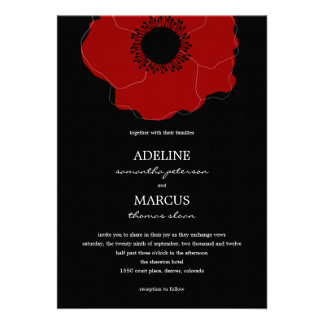Modern Poppy Wedding Invitations (Red/Black) Personalized Announcements