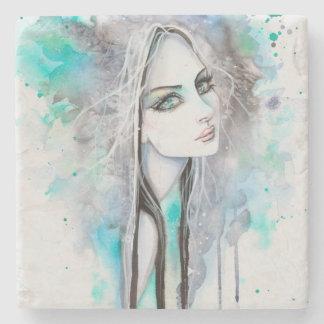 Modern Portrait of Girl Gothic Art Watercolor Stone Coaster