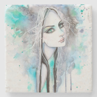 Modern Portrait of Girl Gothic Art Watercolor Stone Coaster