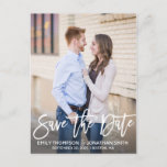 """Modern Portrait Picture Save The Date Postcard<br><div class=""""desc"""">Send our vertical photo save the date postcards with modern brush script to let your guests know to block off your wedding date. Tip: if you need to change the wording that is in the script font, you can go to the """"Personalize This Template"""" section then click the """"Click to...</div>"""