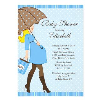 Modern Pregnant Mom Blue Boy Baby Shower Invites