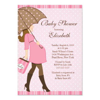 Modern Pregnant Mom Pink Girl Baby Shower Card