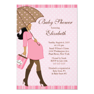 Modern Pregnant Mom Pink Girl Baby Shower 5x7 Paper Invitation Card