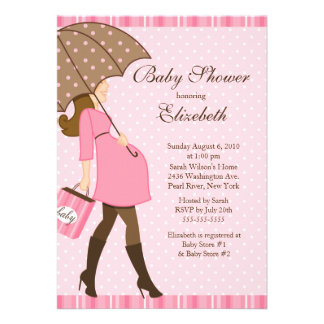 Modern Pregnant Mom Pink Girl Baby Shower Personalized Announcements