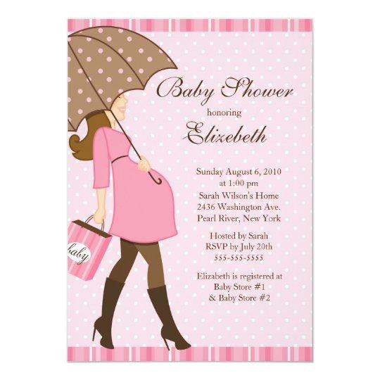 Modern pregnant mom pink girl baby shower invitation zazzle modern pregnant mom pink girl baby shower invitation filmwisefo