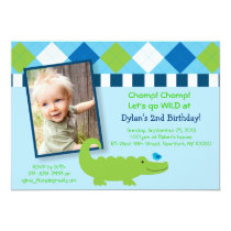 Modern Preppy Alligator Birthday Invitations
