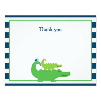 Modern Preppy Alligator Flat Thank You Note Cards Personalized Invites
