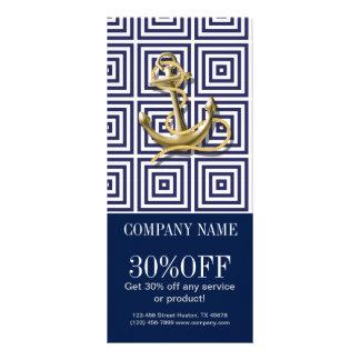 modern preppy blue pattern anchor Nautical Rack Card