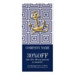 modern preppy blue pattern anchor Nautical Rack Card Template