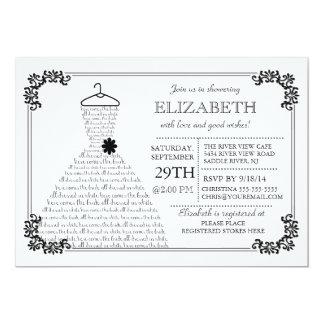 Modern Pretty Bride Wedding Dress Bridal Shower Personalized Invitations