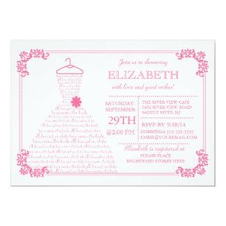 Modern Pretty Pink Wedding Dress Bridal Shower Card