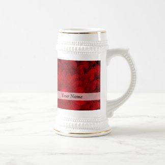 Modern pretty  red fractal pattern beer stein