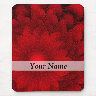 Modern pretty  red fractal pattern mouse pad