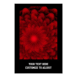 Modern pretty  red fractal pattern posters