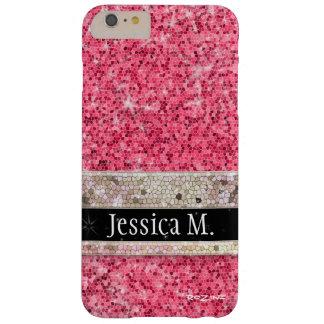 Modern Princess Hot Pink Glitter Diamond Monogram Barely There iPhone 6 Plus Case