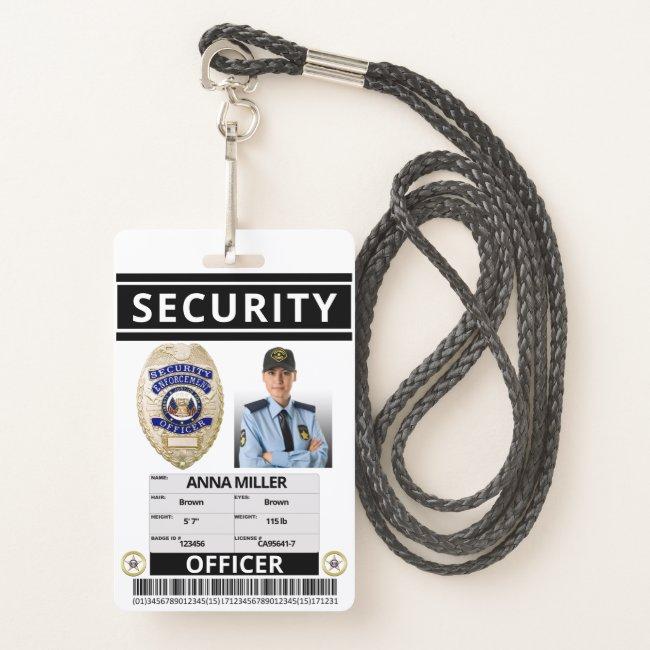 Modern Print Security Officer Custom Employee ID Badge