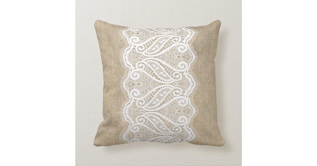 Modern Printed Burlap & Lace Cushion Zazzle