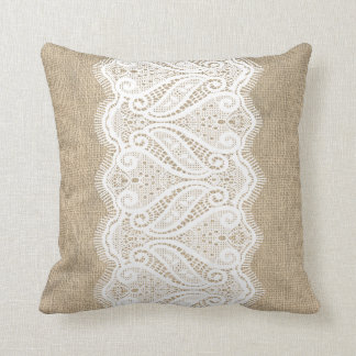 Modern Printed Burlap & Lace Cushion
