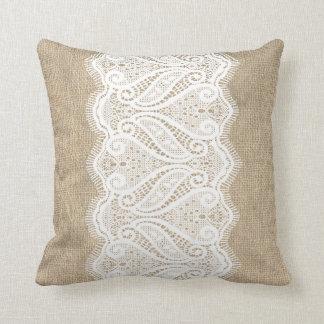 Modern Printed Burlap & Lace Cushion Throw Pillow