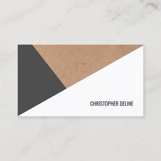 Modern printed kraft paper grey white geometric business card modern printed kraft paper grey white geometric business card reheart Images