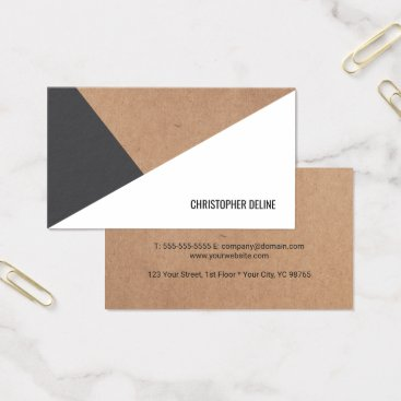 pro_business_card Modern Printed Kraft Paper Grey White Geometric Business Card