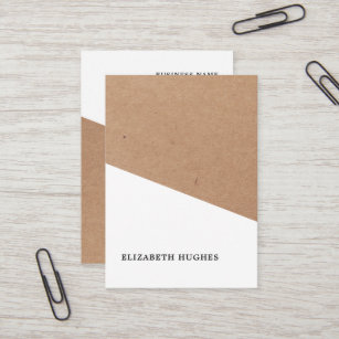 Kraft business cards zazzle modern printed kraft paper white geometric business card colourmoves