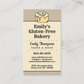 ★ Modern Professional Bakery Vintage Dots Vertical Business Card
