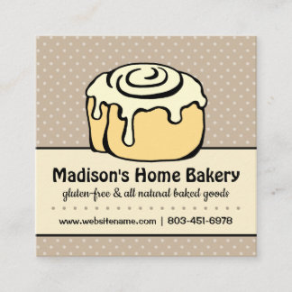 ★ Modern Professional Bakery Vintage Polka Dots Square Business Card