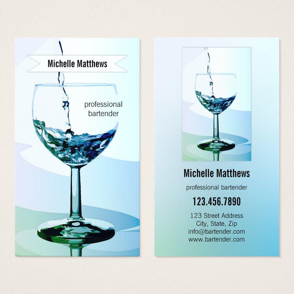 Modern Professional Bartender Business Card