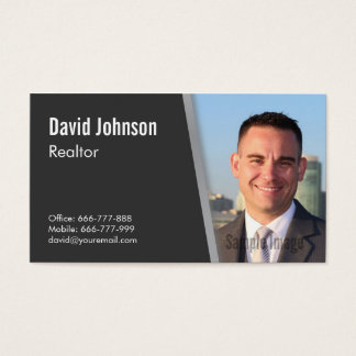Modern Professional Black Realtor Photo Business Card