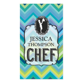Modern Professional Chevron Cook Chef Custom Cards Double-Sided Standard Business Cards (Pack Of 100)