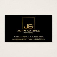 Modern Professional Elegant Black Gold Monogram Business Card