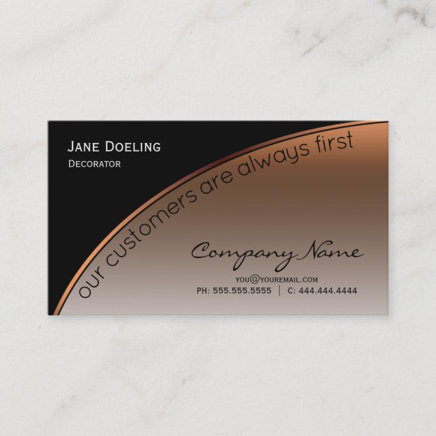 Modern Professional Elegant Black Highlight Copper Business Card