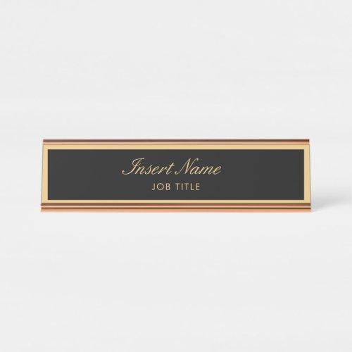 Modern Professional Elegant Script Gold Desk Name Plate