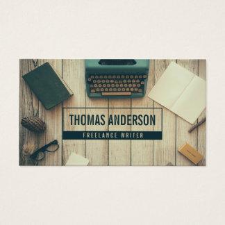 Modern Professional Freelance Writer Typewriter Business Card