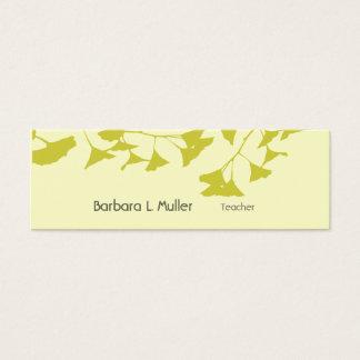 Modern Professional Ginkgo Leaf Nature minimal Mini Business Card