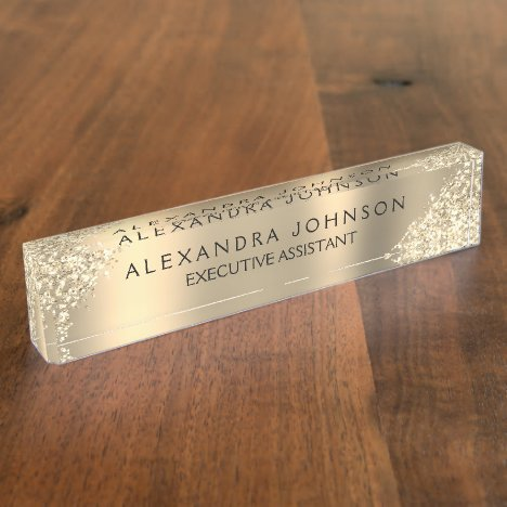 Modern Professional Gold Sparkle Glitter Desk Name Plate