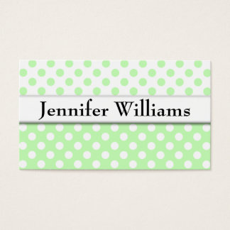 Modern Professional Green Polka Dot Business Card