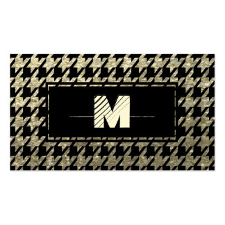 Modern Professional Houndstooth Monogram Business Cards