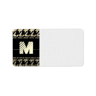 Modern Professional Houndstooth Monogram Label