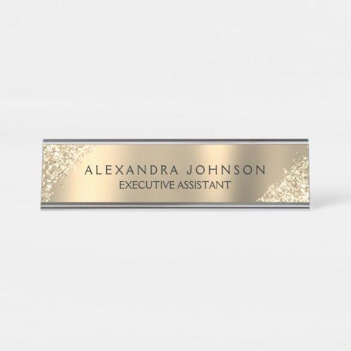 Modern Professional Luxury Gold Sparkle Glitter Desk Name Plate