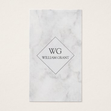 Professional Business Modern Professional  Minute White Marble Monogram Business Card