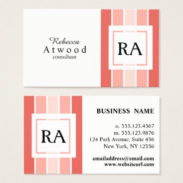 Professional Business Modern Professional Monogram Business Cards Coral