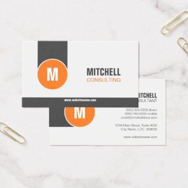 Lawyer Themed Modern Professional Monogram Orange Grey Business Card