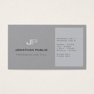 Modern Professional Monogram Plain Elegant Grey Business Card