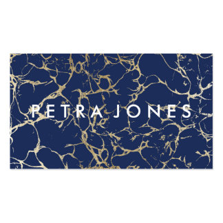 Modern professional navy blue gold chic marble business card
