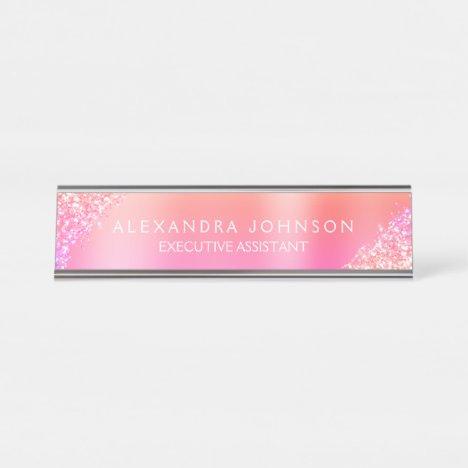 Modern Professional Orange Pink Sparkle Glitter Desk Name Plate