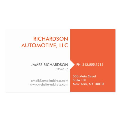 MODERN & PROFESSIONAL ORANGE/WHITE Business Card