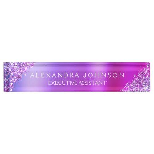 Modern Professional Pink Purple Sparkle Glitter Desk Name Plate