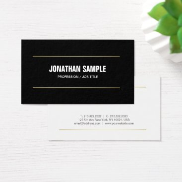 Lawyer Themed Modern Professional Plain Black White Gold Trendy Business Card